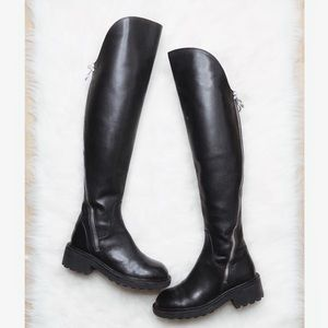 Ash • Seven Black Leather Over the Knee Boots
